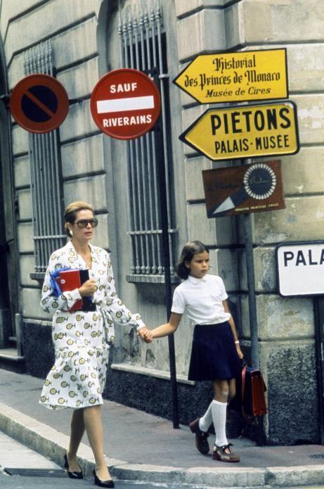 Princess Grace of Monaco and Princess Stephanie walk to school, 1971