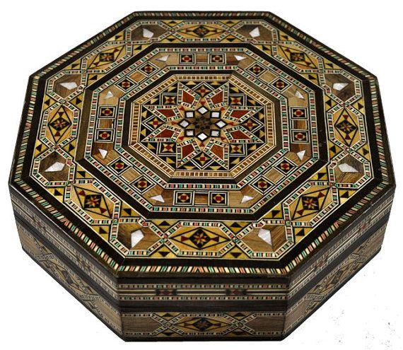 Octagonal Syrian Jewelry Box By DamascusTreasure On Etsy · Jewellery  BoxJewelryDamascusWood ArtMiddle EastMosaicBeautiful ThingsFurniture Marquetry
