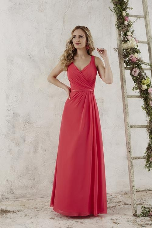 Balletts Bridal - 22912 - Bridesmaids by Jacquelin Bridals Canada - This fashionable full-length chiffon gown has a pleated bodice and a v-neckline. The straps button near the upper back, giving the dress a magnificent keyhole back. Pictured In: Lipstick/Lipstick