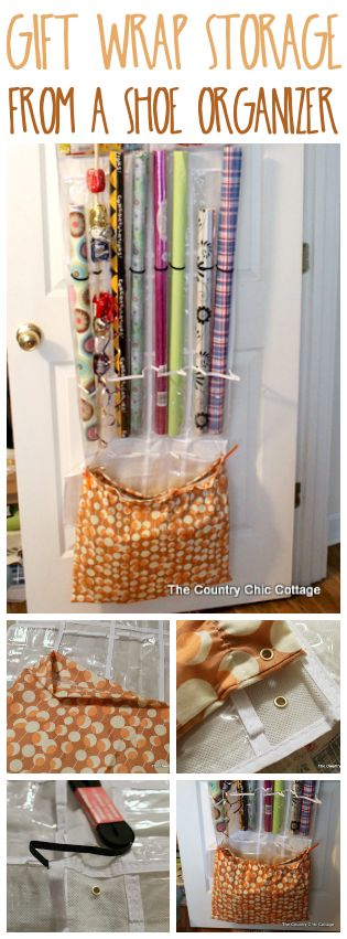 Turn an over the door shoe organizer into gift wrap storage! Great way to stay organized!