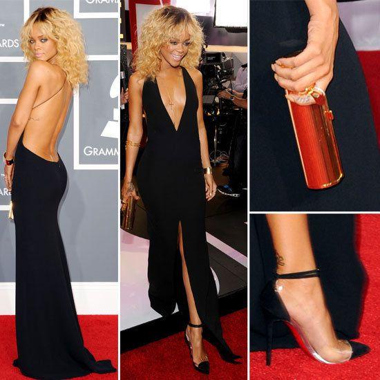 Rihanna black armani dress material