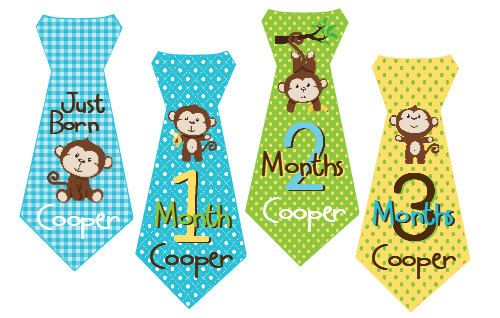 month to month stickers: Baby Month Stickers, Ties Baby, Boys Ties, Baby Boys, Stickers Personalized, Baby Months Stickers, Monkey Boys, Personalized Monkey, Months Ties