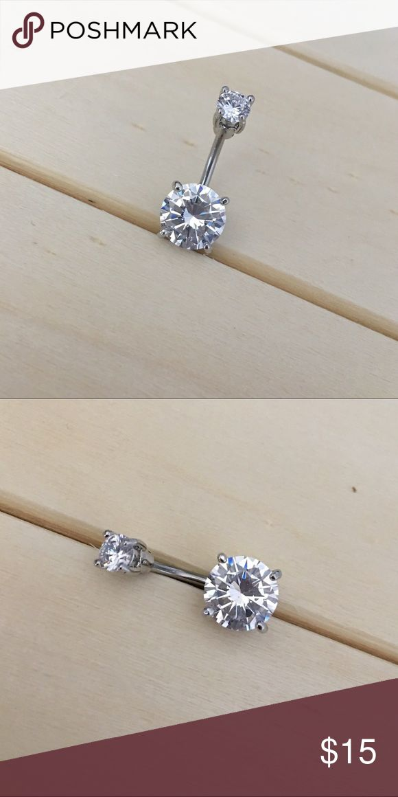 Silver CZ Prong Belly Button Ring Brand New! 14 Gauge Surgical Steel. Ships within 1-3 days Absolutely no trades. Check out my all my items! Thanks for looking ☺️ If you have any questions leave a comment below Belly Button Ring Navel Piercing 14G Surgical Steel Body Jewelry New Jewelry Rings