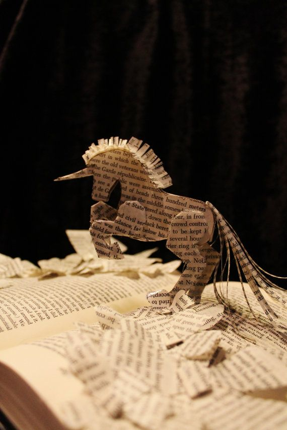 Bring Me A Unicorn Book Sculpture by WetCanvasArt on Etsy, $100.00