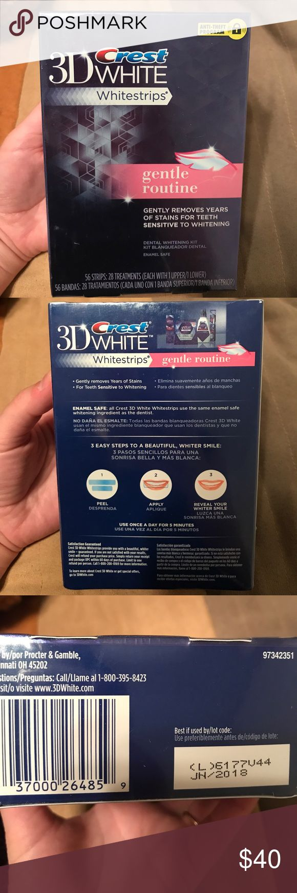 Crest 3D white whitestrips gentle routine Brand new, sealed - Crest 3D white whitestrips gentle routine. Gently removes years of stains for teeth sensitive to whitening. 56 strips (28 treatments) crest Other