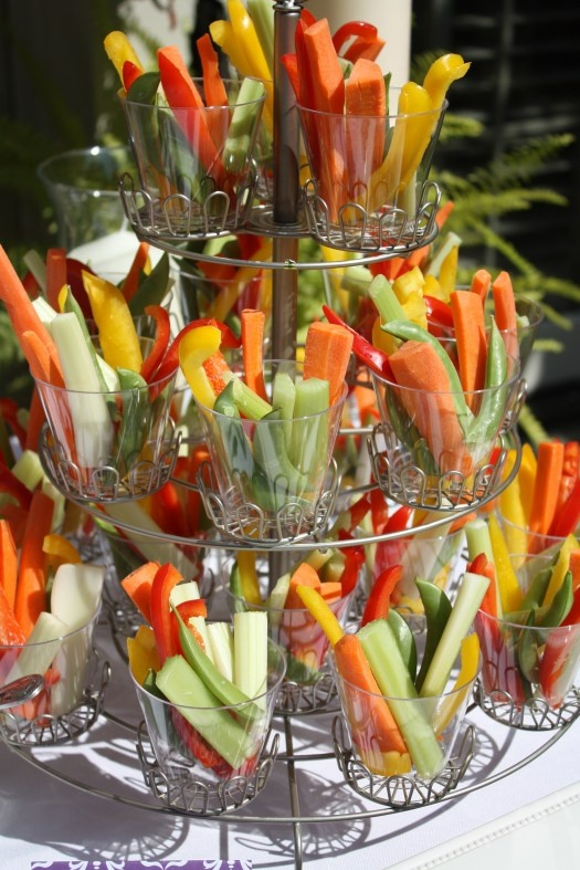 Crudités' -served in round plastic cups make a great side for any party! || Sarah Sofia Productions #party #events #bridalshower #birthday #partyideas #partyplanning #sarahsofiaproductions