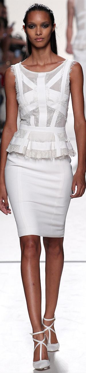 White peplum inspired top with white pencil skirt - Elie Saab Spring 2014 RTW
