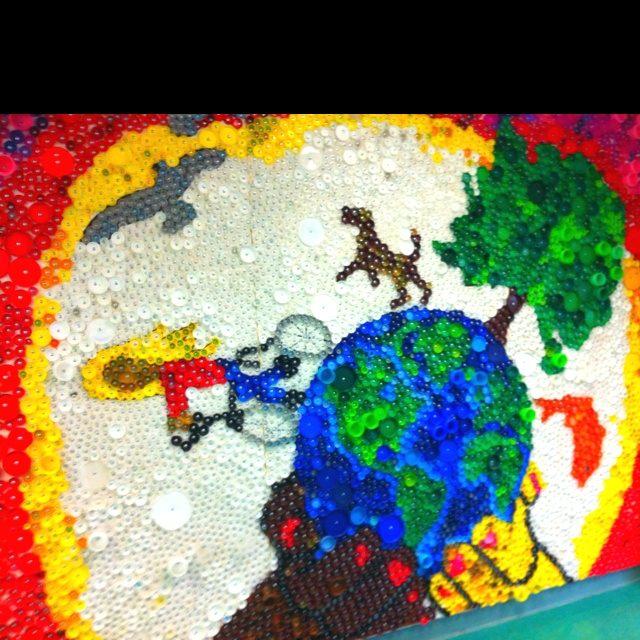 17 best images about lid art on pinterest starry nights for Bottle cap mural