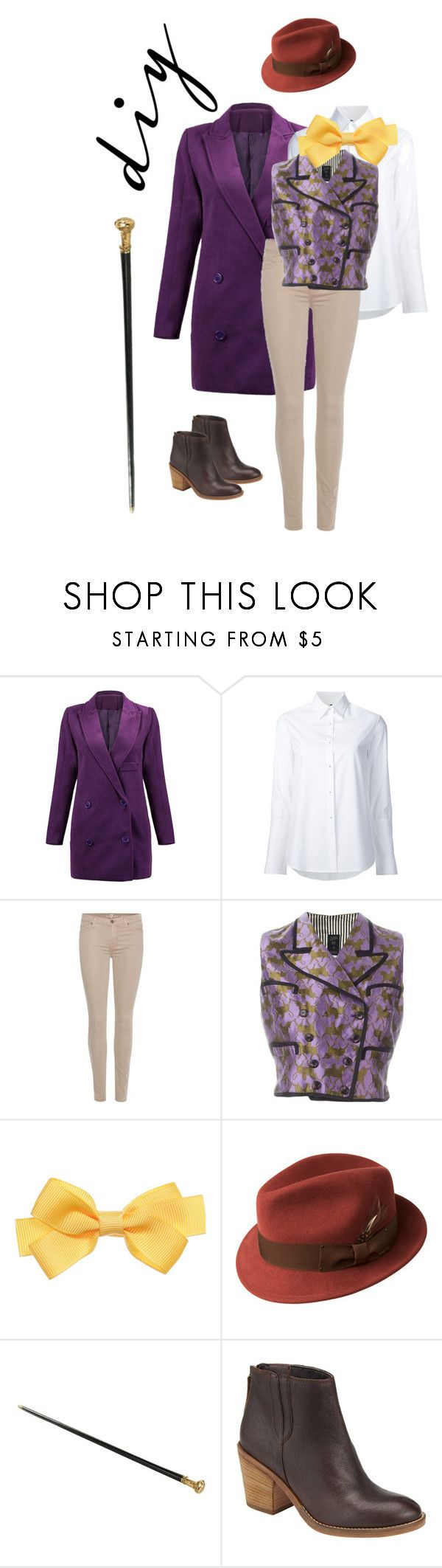 """Costume: Movie: Willy Wonka"" by rebeccalange ❤ liked on Polyvore featuring Misha Nonoo, 7 For All Mankind, Jean-Paul Gaultier, Bailey of Hollywood, John Lewis, halloweencostume and DIYHalloween"