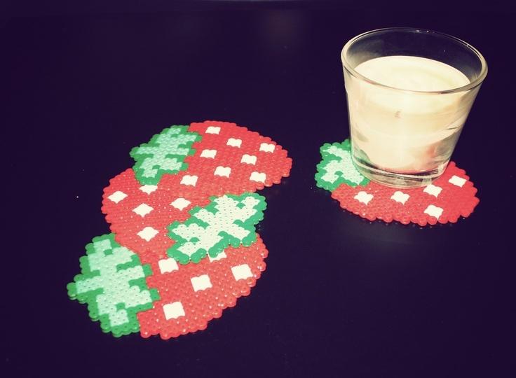 Strawberries Coasters hama perler by bouncing-jewellery