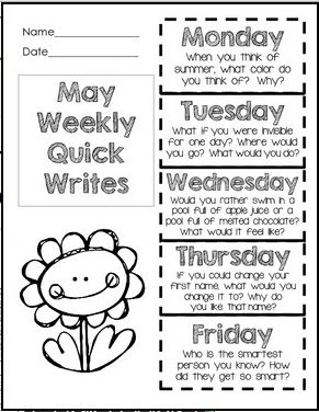 Daily Quick Writes for May in a foldable...one sheet of paper for the entire week.  Fun prompts....try the free Spring quick writes after checking these out! $