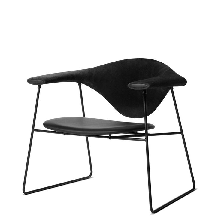 GUBI - Masculo Lounge Chair - Ryg i stof, sæde i læder