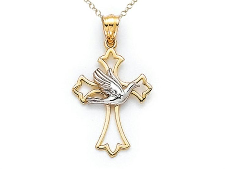 14kt Two Tone Polished Cross Pendant Necklace with Dove - Chain Included