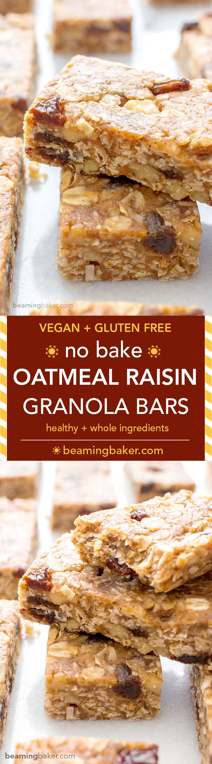 No Bake Oatmeal Raisin Granola Bars (V+GF): Soft and chewy granola bars that taste just like an oatmeal raisin cookie. An easy Vegan and Gluten Free recipe made with whole ingredients. BEAMINGBAKER.CO(Vegan Oatmeal Maple)