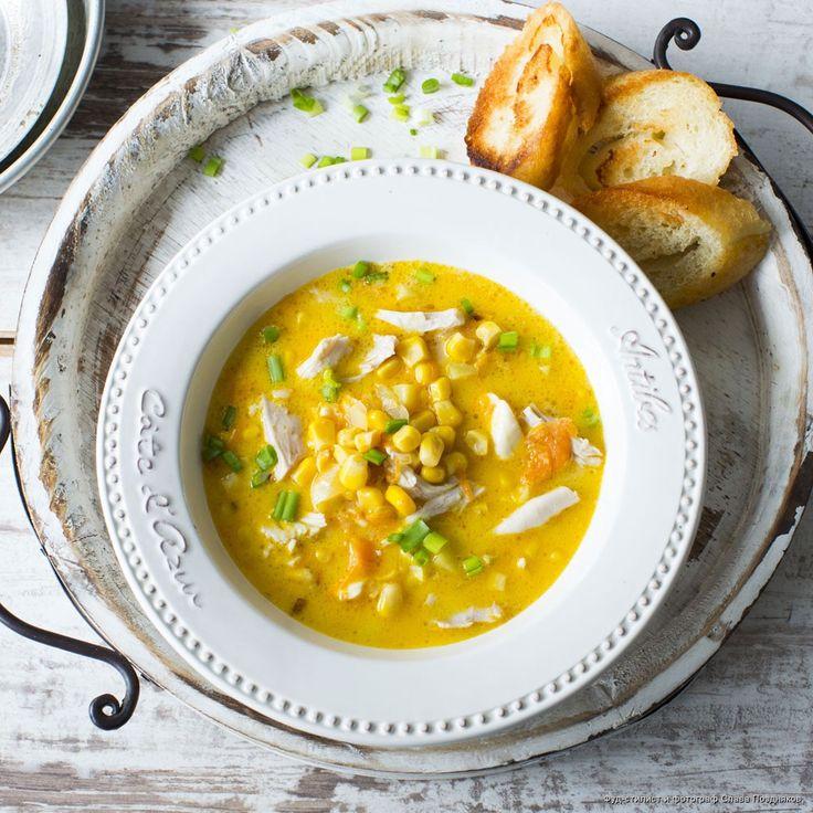 Сырный суп с кукурузой и курицей