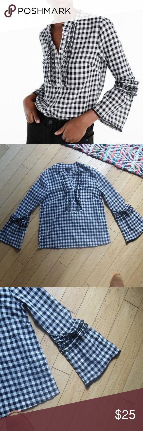 """J. Crew Embroidered bell-sleeve top in gingham This bell-sleeve top with contrast embroidery and a gingham print is the perfect match for your favorite denim. Body length: 24 1/2"""". - Long sleeves. - Button placket. - Machine wash.  Size : 0   Same Day Delivery!! J. Crew Tops Blouses"""