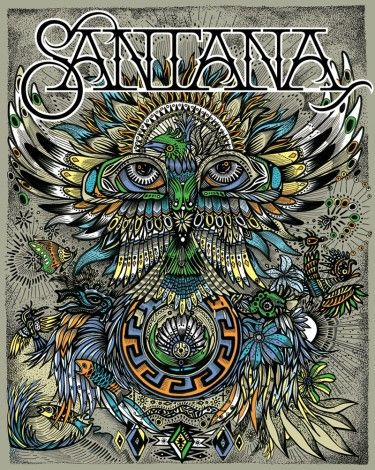 Vintage, retro, hippie, classic rock concert poster - Santana beautiful art design. Más