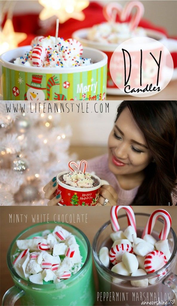DIY Holiday Realistic Hot Cocoa Candles. Cute Christmas gift idea!
