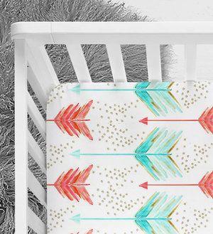 Watercolor Arrows Crib Sheet, baby bedding, tribal print, tribal nursery, pink and blue