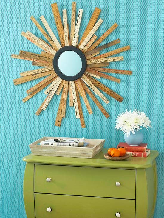 Mirror That Rules - sunburst mirror using yard sticks (via BHG.com)