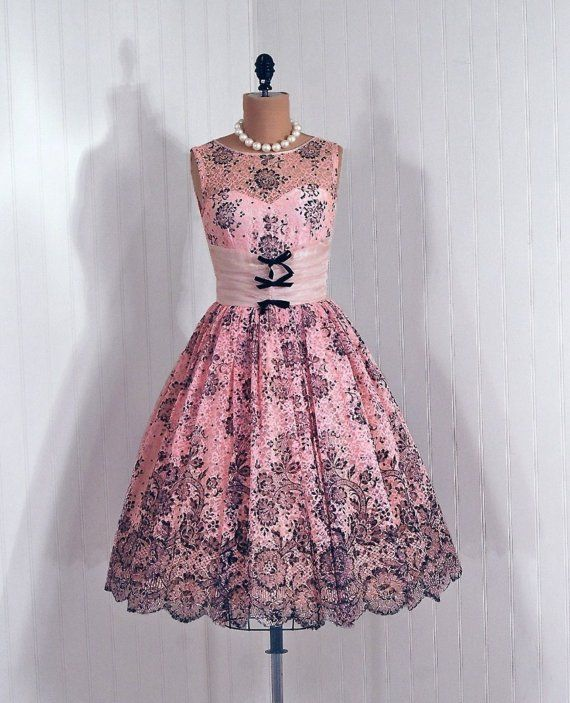 1950's Pink and Black Floral Glitter Lace over Pink with Cummerbund Bow-Ties   From TimelessVixenVintage