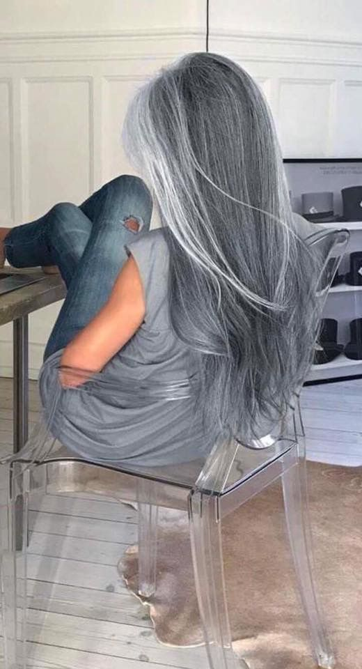 Pretty long silver hair. Emerald Forest shampoo with Sapayul for healthy, beautiful hair. Sulfate free shampoo. shop at www.emeraldforestusa.com