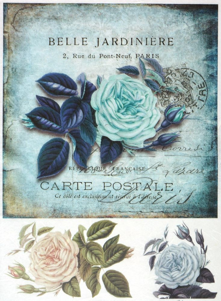 Ricepaper for Decoupage Decopatch Scrapbook Craft Sheet Vintage Blue Rose Card