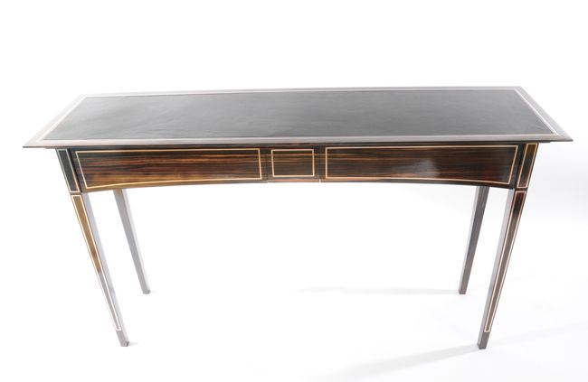 Console table with two drawers. Macassar ebony. Bronze inlay, leather top and under-lighting. #bespoke #consoletable #luxury #furniture #inetriordesign