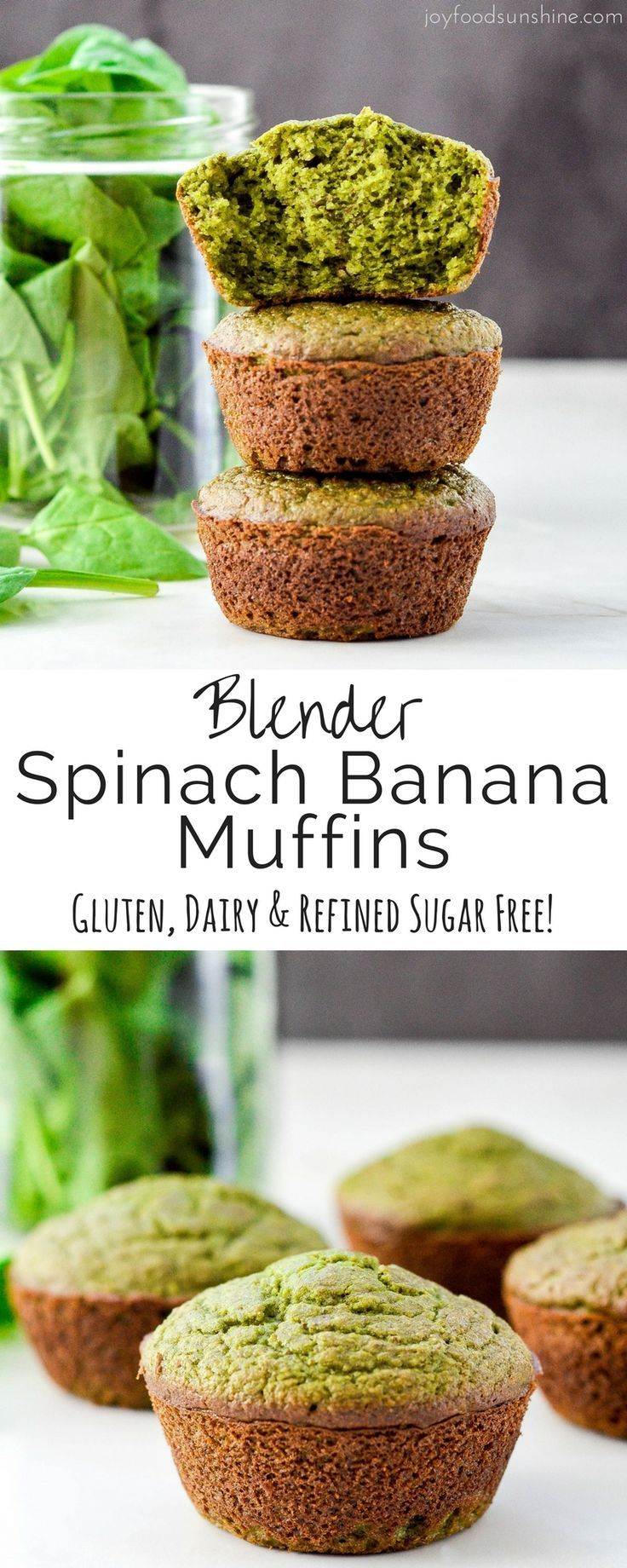 These blender Spinach Banana Muffins are an easy, healthy, freezer-friendly breakfast full of fruit and veggies! A recipe that your kids will love! Plus they're gluten-free, dairy-free and refined sugar free with a vegan option!
