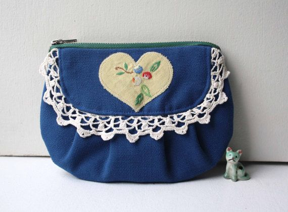 Heidi vintage fabric blue purse by ObeliaDesign on Etsy, $47.00 Obelia