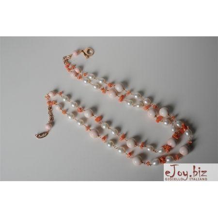 collane con conchiglie | Collana a due fili conchiglia e corallo rosa, perle di fiume
