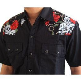 Rockabilly Shirt Skull Roses Retro Vintage Hawaii Psychobilly Rock N Roll