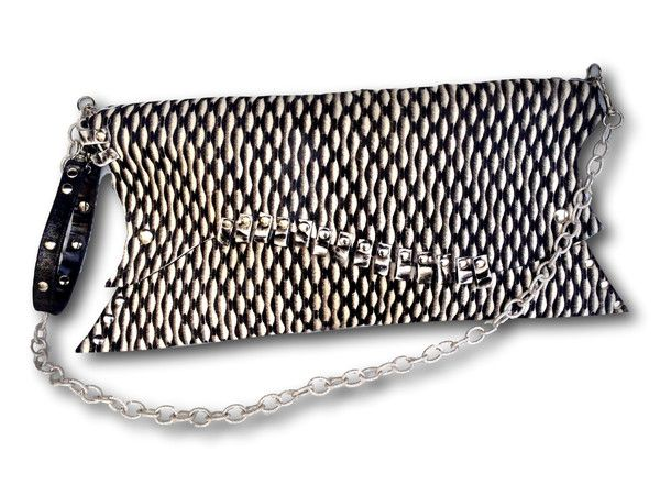 Handmade leather clutch (black/white)