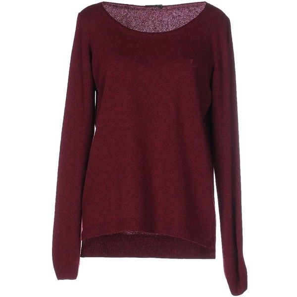 Fred Perry Jumper found on Polyvore featuring tops, sweaters, maroon, jumper top, long sleeve jumper, maroon sweater, red top and long sleeve tops