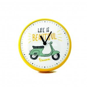 Zegar ścienny Vespa żółty
