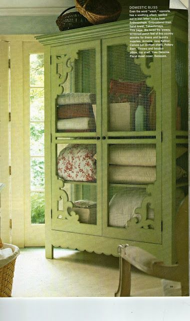 Love armoires filled with quilts, especially this lovely green one. Antique pie safe for the cabin.