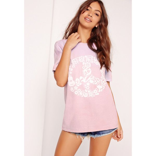 Missguided Peace Slogan Colour Change T Shirt ($18) ❤ liked on Polyvore featuring tops, t-shirts, purple, slogan t shirts, peace sign t shirt, purple t shirt, purple tee and pink tee