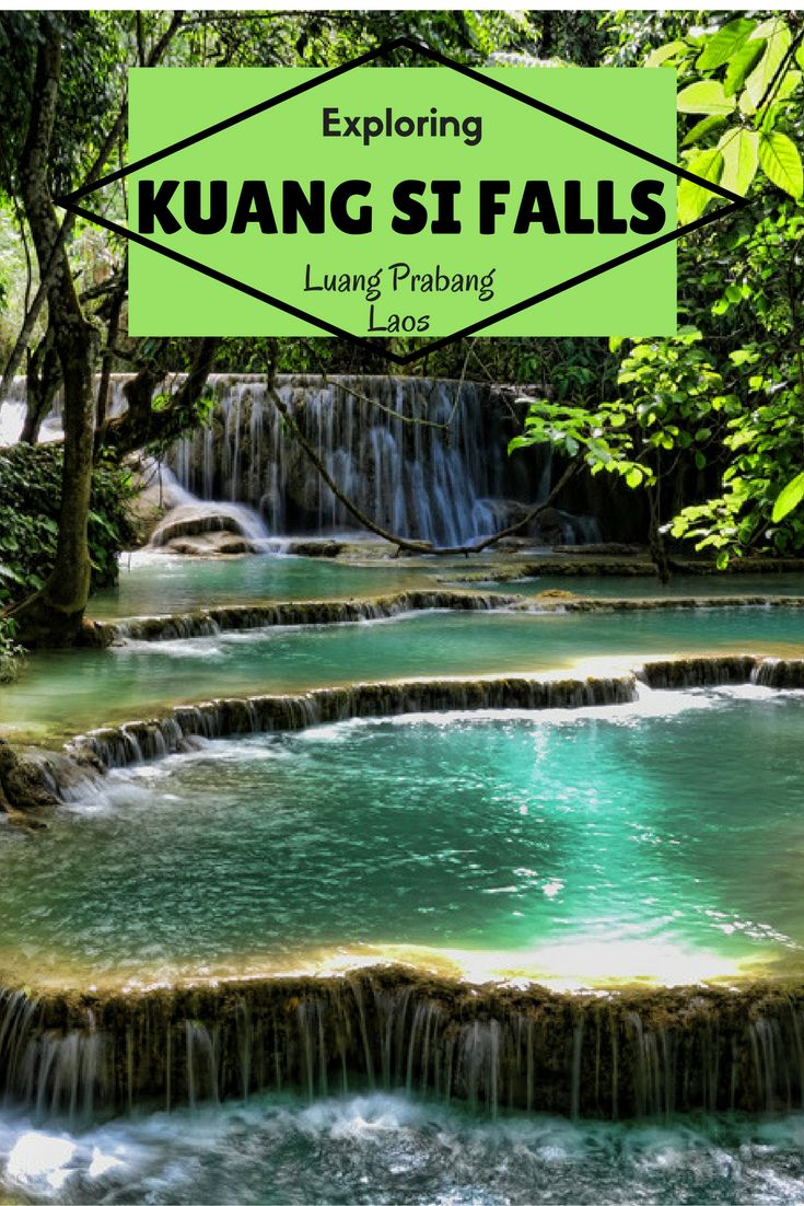Kuang Si Falls outside of Luang Prabang in Nothern Laos form one of the most captivating natural limestone waterfalls you can find in Southeast Asia, or anywhere else in the world. Put this on your list of places to visit in Laos. #Laos #waterfall #LuangP