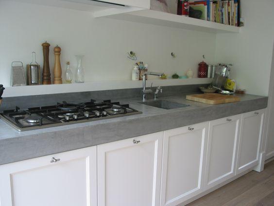 strak landelijke keuken met betonnen aanrechtblad - Google zoeken