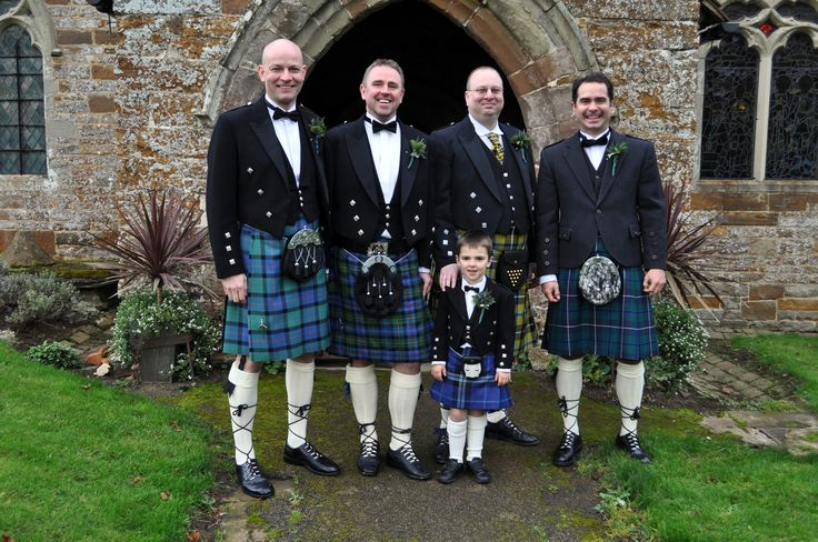 A true Scottish wedding represents the meeting of the clans; don't try to find matching kilts for hire.  It adds a rustic authenticity to the event if you allow your groomsmen to hire kilts of their choice/wear their own tartan.  PICTURE: Effervescence Events  Church Wedding and Hotel Reception Fully managed event