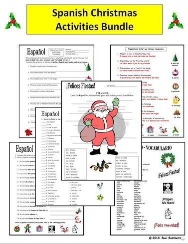 Spanish Christmas Activities Bundle by Sue Summers - Practice, Vocabulary and More! There are 14 practice worksheets, a skit, a puzzle and an extensive vocabulary reference.