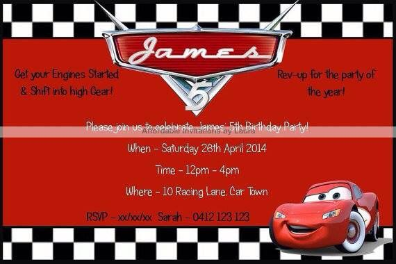 Cars Invitation $12AUD emailed to you - you print and frame PAYPAL ACCEPTED!  Order here  www.facebook.com/readyforprint