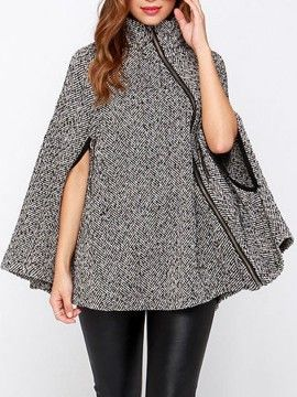 Shop Gray Stand Collar Asymmetric Zipper Front Cape Coat from choies.com .Free shipping Worldwide.$62.99