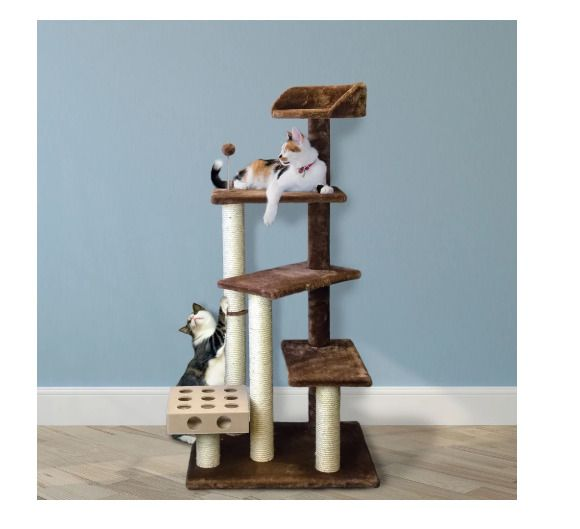 Play Stairs Cat Tree House With Cat Iq Busy Box Brown Indoor Use Pet Supplies Tigertough Cat Tree House Furhaven Cat Playground Outdoor