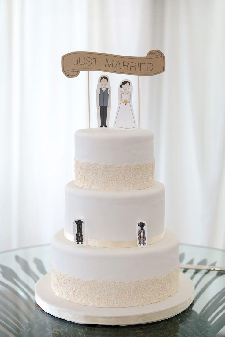 Three tier wedding cake by Utopia Cakes, Hastings, New Zealand.