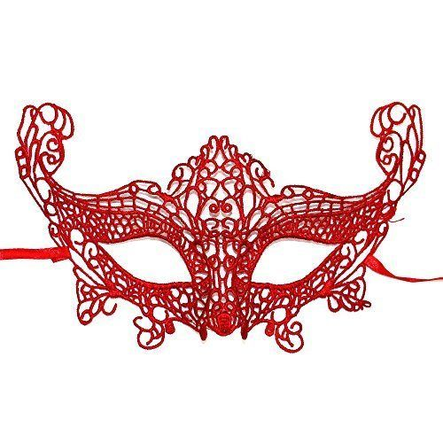 Halloween Lace Mask Masquerade Carnival Party (Red Lace)