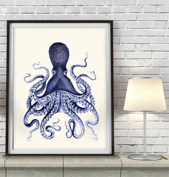 Octopus Print Blue 3, octopus illustration Nautical Print Art Illustration Drawing Poster Digital Print Wall Art Wall Décor Wall Hanging