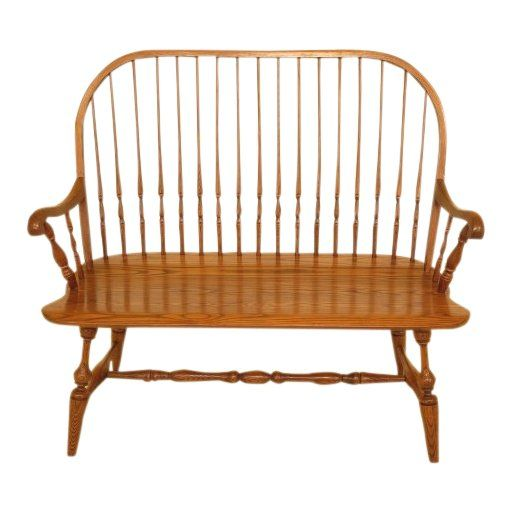 Hitchcock Solid Oak Windsor Settee Bench Products