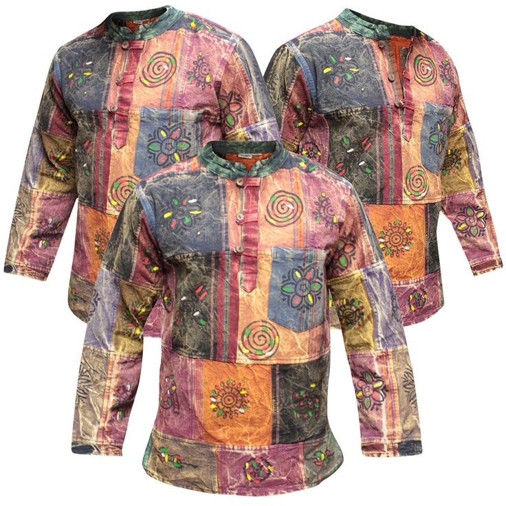 Mens Thick Cotton Acidwashed Patchwork Collarless Grandad Shirt,Hippy Casual Top