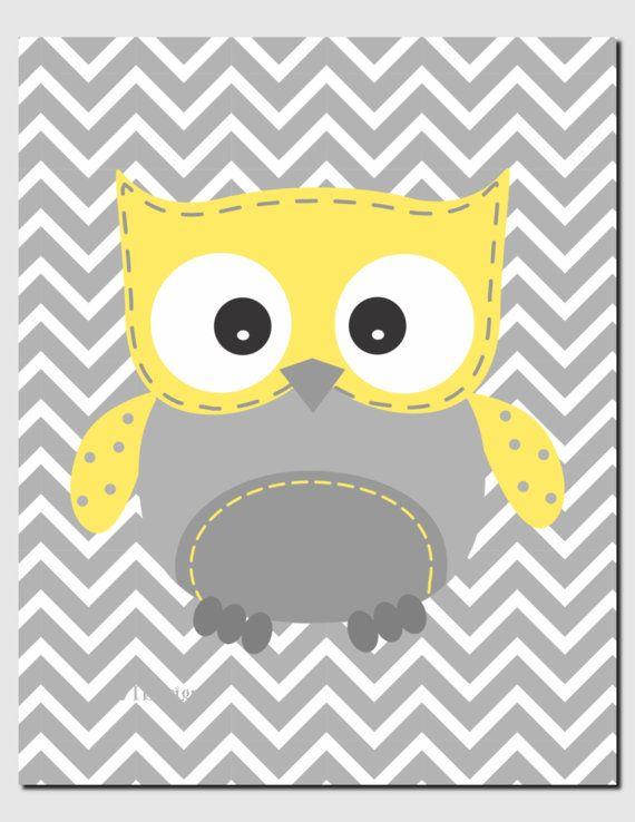 Owl Nursery Art Yellow Gray Owls Initial Monogram Baby Nursery